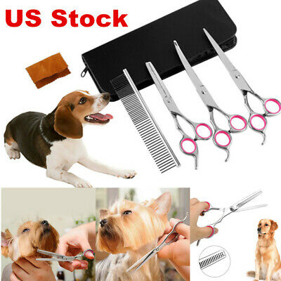 "7"" Pet Grooming Scissors Dog Cat Professional Curved Thinning Shear Hair Cutting"