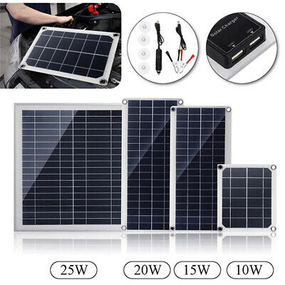 SuperBlack 15/20/25W Watt Monocrystalline Solar Panel Solar Charger Kit +DC Line