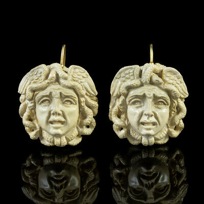 Antique Victorian Hand Carved Lava Stone Medusa Earrings Circa 1850