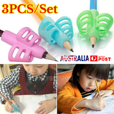 3pcs 2-finger Grip Silicone Kid Baby Pen Pencil Holder Learning Writing Tool AU