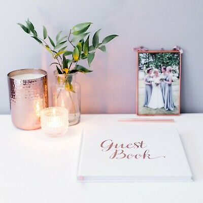 Rose Gold Wedding Guest Book, Birthday, Christening, Party - Guestbook White