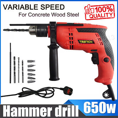 HILKA 600W ELECTRIC HAMMER DRILL VARIABLE SPEED IMPACT DRIVER SCREWDRIVER 240v