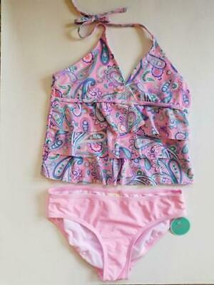 f2e1eff26c2c9 NEW Girl's Swim Suit Size 8 Tiered Tankini 2 Piece Copper Key Dillards Pink  NWT