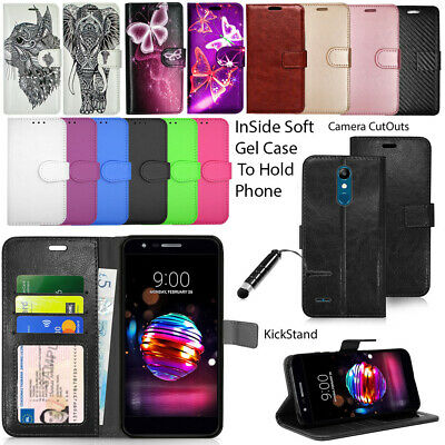 For LG K11 Phone Case Wallet Leather Cover Book Flip Stylish  +Touch Stylus NEW