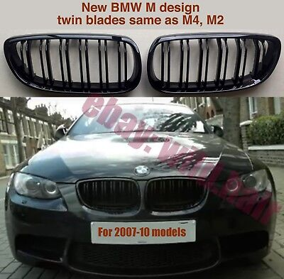 BMW M4 look grilles,e92/e93/M3,2006-10,coupe/convertible,double bars,gloss black