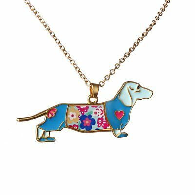 Cute Colorful Enamel Dog Pendant Necklace Womens Jewellery Family Friend Gift