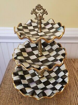 Mackenzie Childs Courtly Check Ceramic Fluted Three Tier Sweet Stand $550