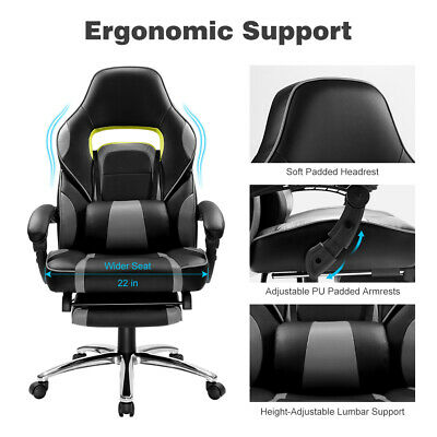 Ergonomic Faux PU Racing Style Reclining Computer Gaming Executive Office Chair