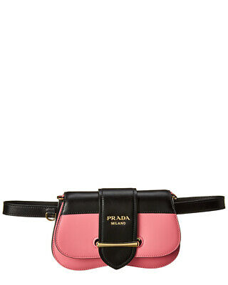 46ecb94cb5 PRADA SIDONIE LEATHER Belt-Bag- Black/Pink 1BL021 OJH 2AIX EF0XDF ...