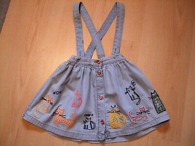 """Next Blue Cotton """"Cat"""" Theme Embroidered Skirt/Braces       Age 18 - 24   Months"""