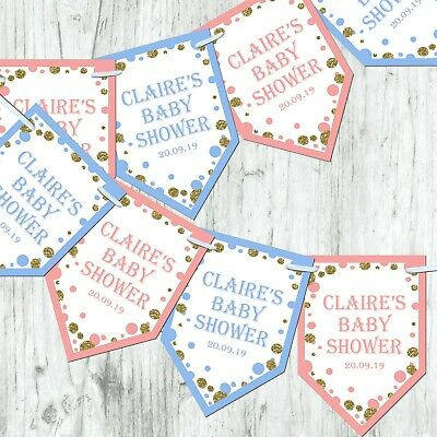 Personalised Gender Reveal Boy Girl Bunting Baby Shower Decoration Glitter