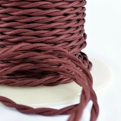 Burnt Copper Cloth Covered Twisted Wire 25ft Roll - Lamp Cord - Antique Fan Wire