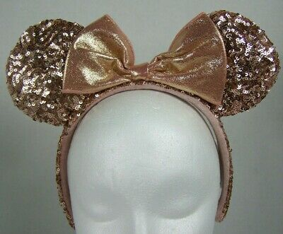 Disney Parks Minnie Mouse Ears Headband Rose Gold w Metallic Bow Sequins Pink
