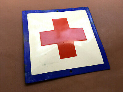 Vintage Enamel Sign Porcelain Red Cross First Aid Bomb Shelter 1960s Very Rare