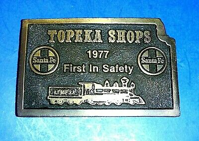 "Beautiful Santa Fe Railway AT&SF RR  ""TOPEKA SHOPS"" Solid Brass Belt Buckle 1977"