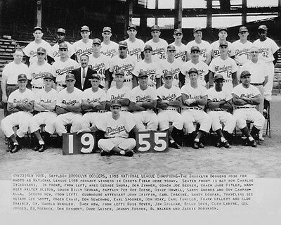 1955 BROOKLYN DODGERS World Series Champions Champs Glossy 8x10 Photo Poster