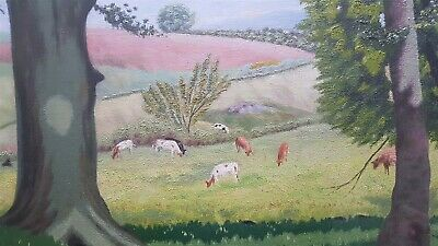 ANTIQUE COUNTRYSIDE LANDSCAPE OIL PAINTING on BOARD IN FRAME J FREELAND SIGNED