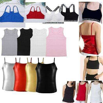 Girl Cotton Tee Top Undershirt Tank Sleeveless Solid Cami for Dance Yoga Fitness