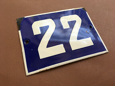 ANTIQUE VINTAGE FRENCH ENAMEL SIGN HOUSE NUMBER 22 DOOR GATE SIGN BLUE 1950's