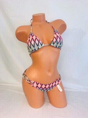 Victoria's Secret Bikini~Warm Ikat Push Up Triangle Halter~Strappy Cheeky~Sz M/S