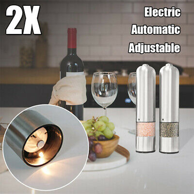 2pack/set Stainless Steel Pepper Salt Grinder Automatic Electric Spice Herb Mill