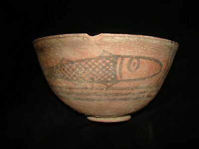 Ancient Painted Bowl With Fish And Geometrics! 3000Bc~~Indus Valley