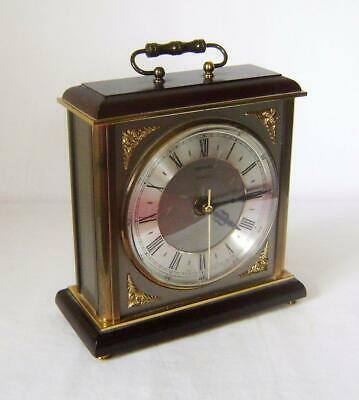Heavy Brass & Wood Metamec Mantle / Carriage Clock: Battery Movement: Working
