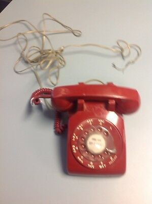 Vintage  Red Western Electric Bell System 500 DM Rotary Dial Telephone