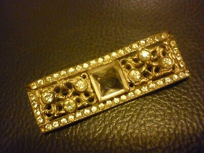 Vintage Art Deco Style Marcasite Brooch with Square Glass Stone