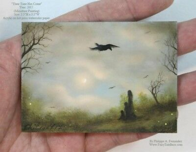 Philippe Fernandez Original ACEO Miniature Painting Clouds Moon Landscape Crows