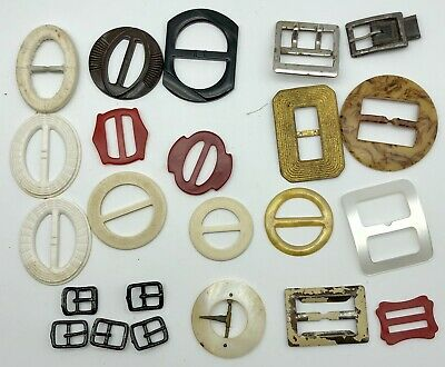 Vintage Mother of Pearl Belt Scarf Buckle Lot White Collectable Antique MOP