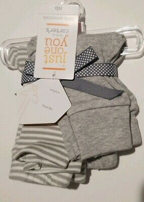 NWT New Baby Boys Girls Just One You by Carter's 2 Pack Pants White Gray NB