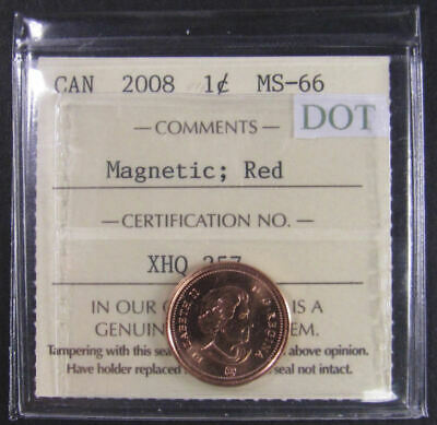 2008 Magnetic (DOT)  Canada 1 Cent  ICCS graded MS-66; RED (small cent or penny)