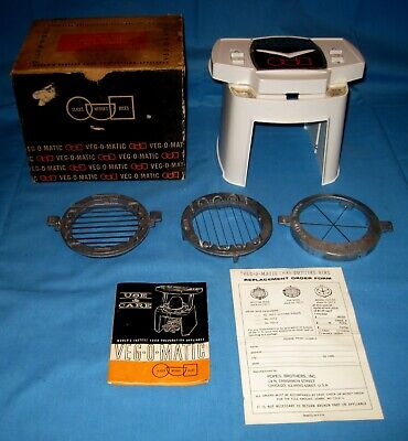 VTG 1961 Veg-O-Matic Food Slicer Popeil Brothers W/Org Box 3 Blades & Manual!