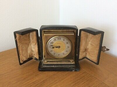 Antique Art Deco Miniature Brass Travel Alarm Clock By Zenith With Case