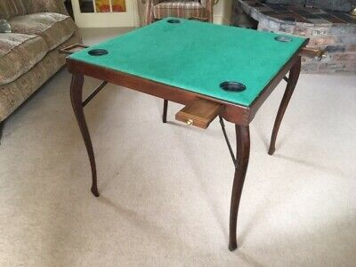 Period Folding Green Top Campaign-style Card/Games Table.