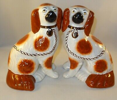 Pair Antique Red White 22cm Staffordshire King Charles Spaniel Dogs c1890 VGC
