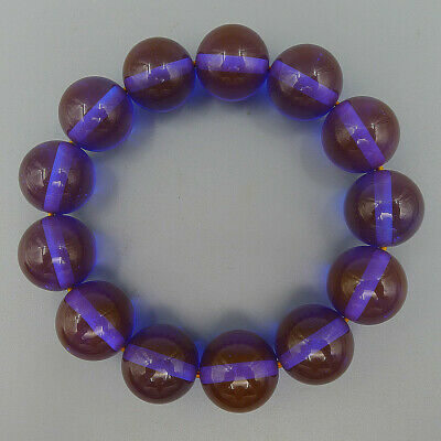 Handmade Charm Jewelry Purple Round Bead Elastic Bracelet Bangle Natural Beeswax
