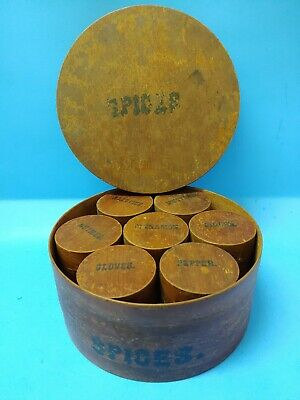 Antique 1800s 8-Piece Set Wooden Shaker Pantry Round Spice Container Boxes