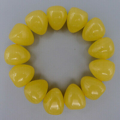 Handmade Charm Jewelry Bracelet Bangle Natural Old Beeswax Yellow Beads Elastic