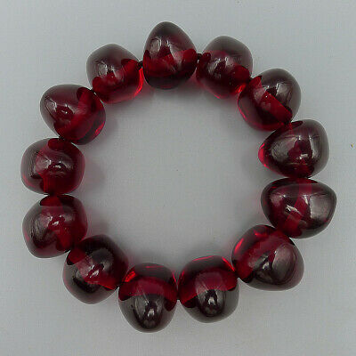 Bracelet Bangle Red Beads Elastic Natural Amber Beeswaxs Handmade Charm Jewelry