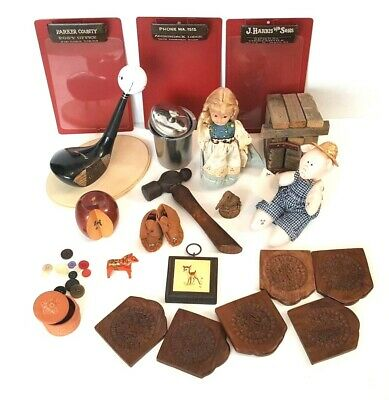 Vintage Junk Drawer Lot Mixed Misc Miscellaneous Odds & Ends Doll Hammer Wood