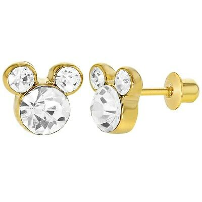 14k Gold Plated Little Mouse Clear Crystal Screw Back Girls Earrings 5mm