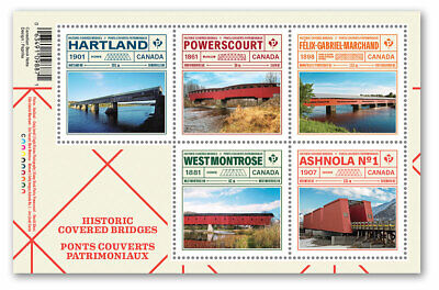 2019-Canada -Historic Covered Bridges: Souvenir sheet of 5 stamps  -MNH