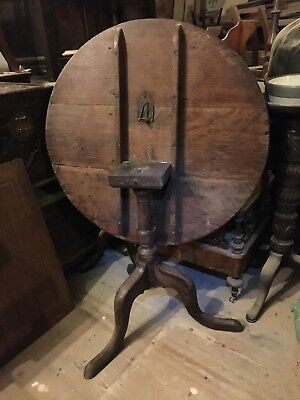 Antique Georgian Oak Round Snap Tilt Top Tea Centre Occasional Side Tripod Table