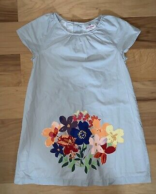 Hanna Andersson Girls Light Gray Dress W/ Floral Design Size 6-8Y Excellent Ld2