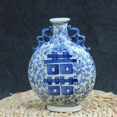 China Jingdezhen Blue and white porcelain Hand painting Double happiness Vases