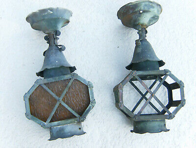 Pair of Vintage mission Tudor arts and crafts Copper Porch Light Sconce Fixture