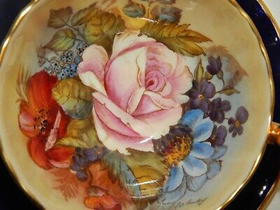 Aynsley  Cabbage Rose  Cobalt Cup And Saucer Signed J A  Bailey #2