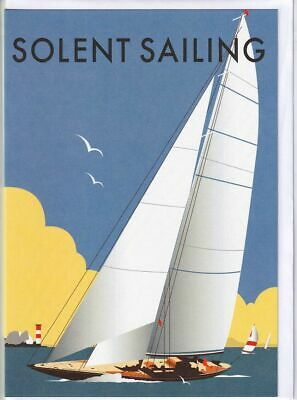 Solent Sailing Greetings Card Dave Thompson birthday yacht yachting boat boating